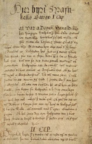 The first page of Hrafnkels saga From the 17th century